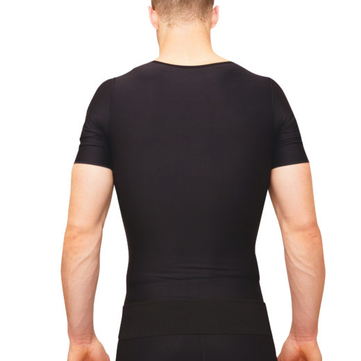 male vest with sleeves and best used following an abdominal, back, or upper arm procedure.