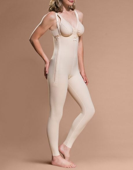High Back Mid Body Cosmetic Surgery Compression Garment w/Suspenders & Full Length Legs