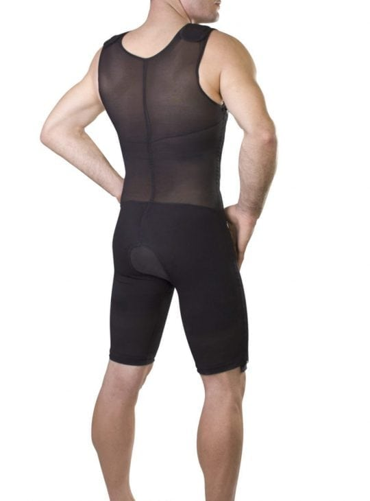 Mens compression bodysuit for post operative support and comfort.