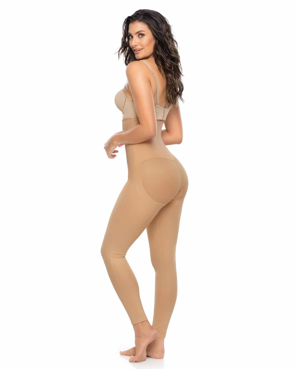 Leonisa Low Back Below Knee Butt Lift Compression Bodysuit