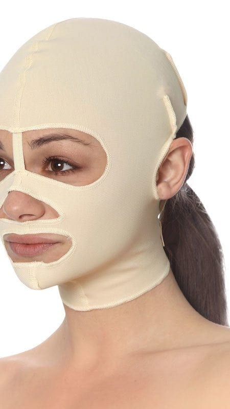 Full coverage face mask for post operative face compression.
