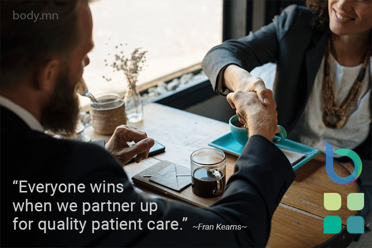 "New service announcement with Image of handshake between man and woman sitting at a table, with quote by Fran Kearns, ""Everyone wins when we partner up for quality patient care."""